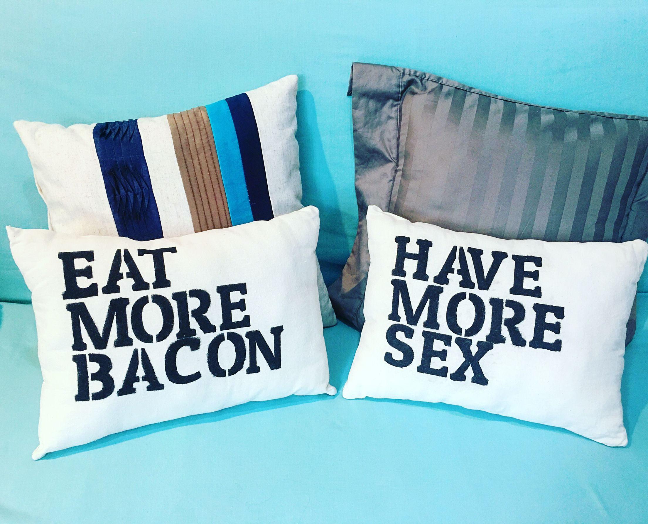 The key to happiness. We can add more cheese too! | Par de cojines tipo stencil $350.00 MX #EatMoreBacon #HaveMoreSex #HomeDecor #FunQuotes