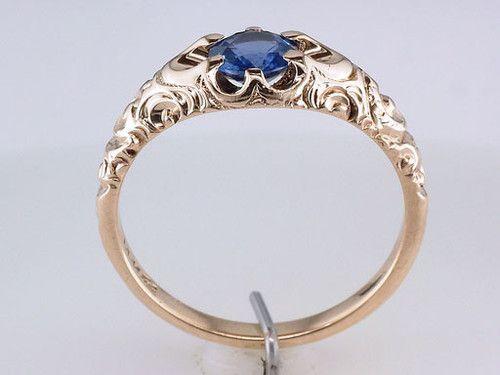 Vintage Antique Victorian 60ct Sapphire 14k Rose Gold Engagement