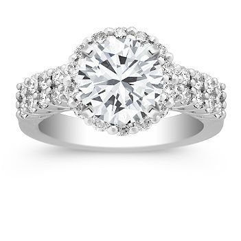 Contest for Pinning Jewelry for Shane Company Halo Diamond Platinum Engagement Ring with Brilliant Round Diamond