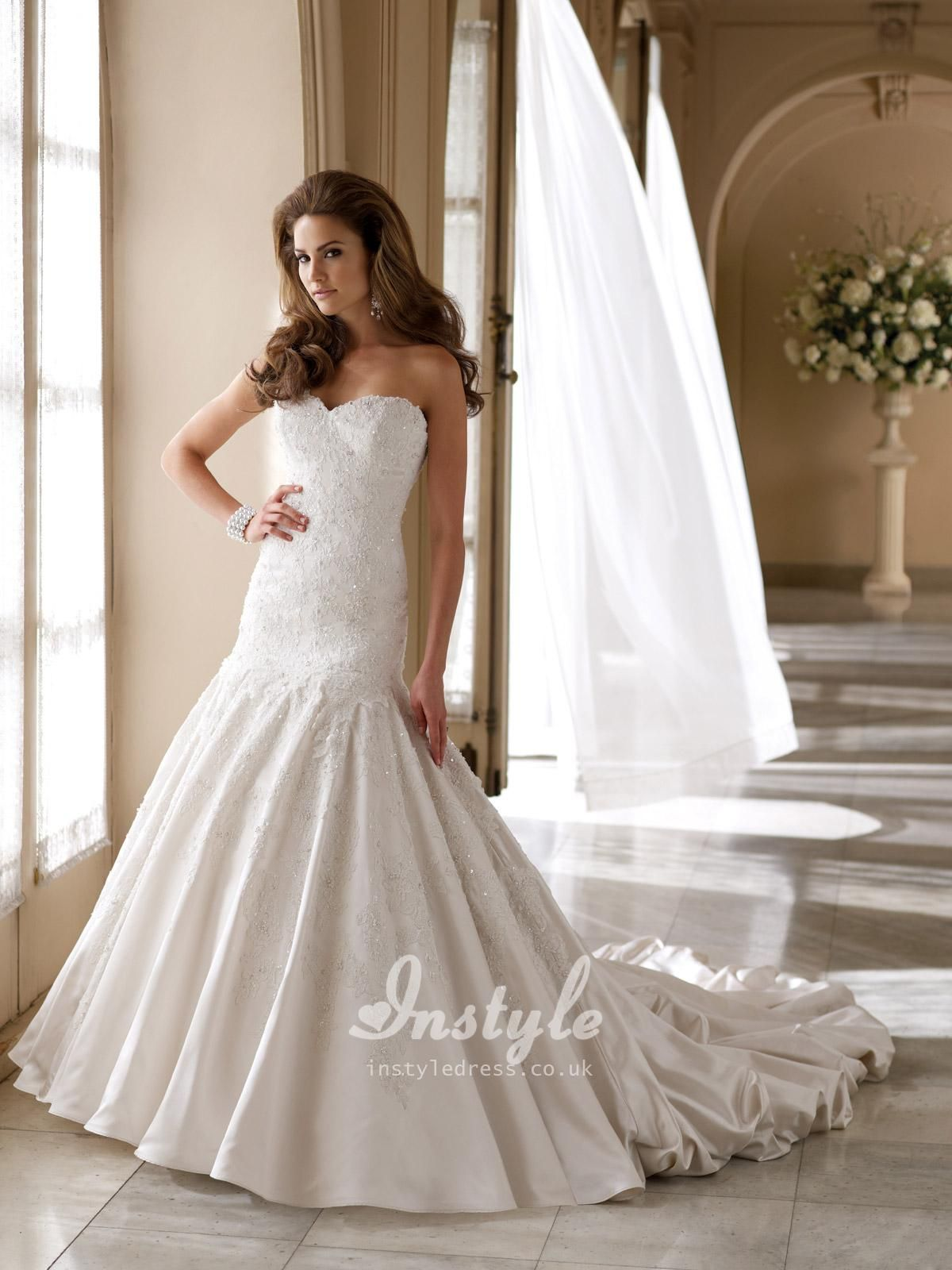 satin and lace modified sweetheart dropped waistline a-line wedding ...
