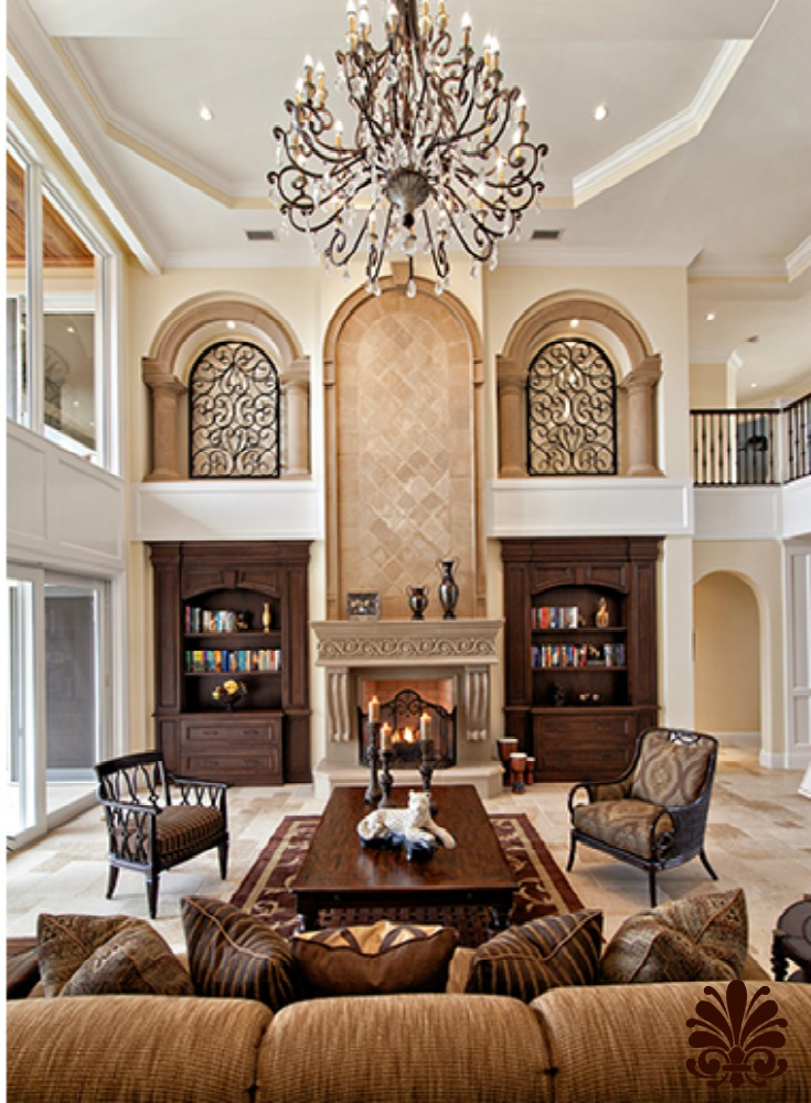 Family Room With High Ceilings And Old World Charm