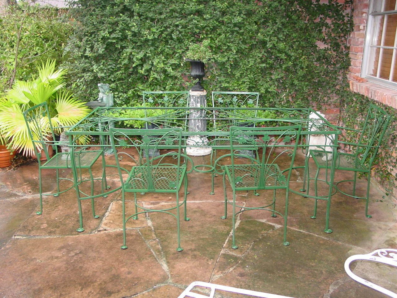 Salterini 7pc Wrought Iron Art Deco Table & Chairs In