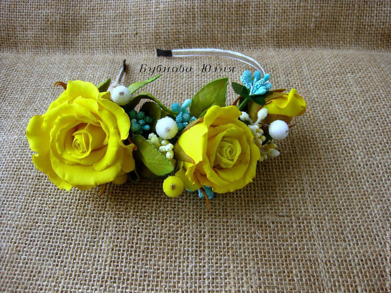 Купить Ободок с желтыми розами - нежный, розы, бутоны роз, ободок для волос, ободок с цветами