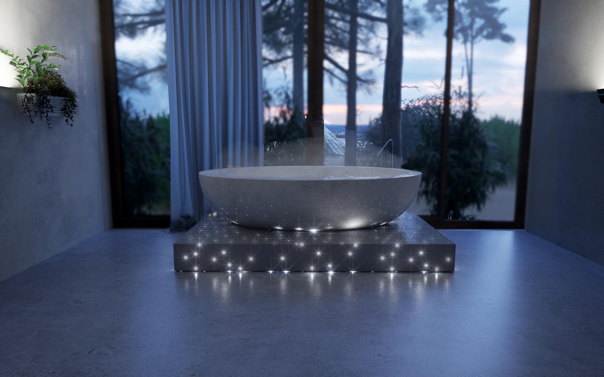 Bath tub with a fibre optic concrete base #Design #architecture ...