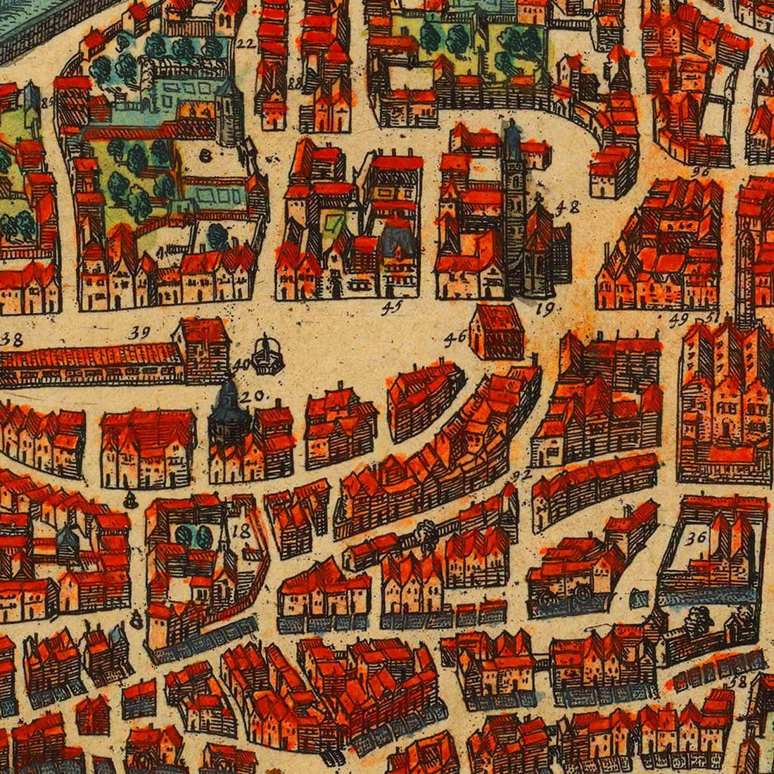 Augsburg 1572 Germany Fuggerei Mozart Braun Hogenberg Map