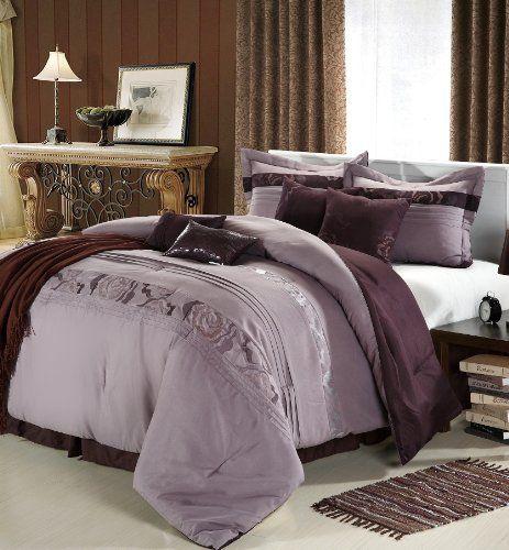 Multiple Colors Sizes 8pc Luxury Bedding Set High P Lavender Purple California King Comforter Set Comforter Sets Plum Bedding Luxury Bedding Purple california king comforter sets