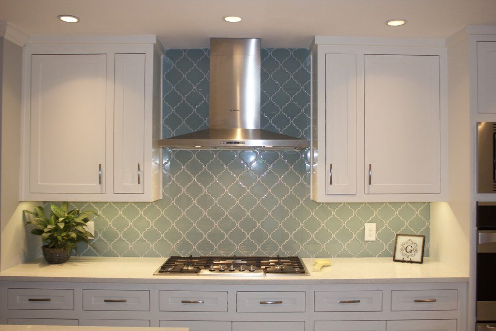 Seafoam Arabesque Glass Mosaic Tiles Arabesque Tile Kitchen