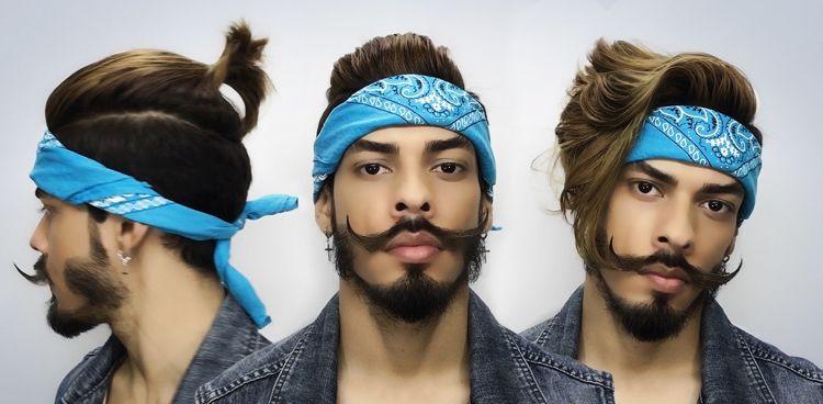 Bandana Frisuren Manner Pompadour Man Bun Fashion Style Frisuren Mit Bandana Bandana Binden Bandana Manner