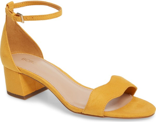 e0360e2c521 Bcbg Farlyn Ankle Strap Sandal in Yellow. A wavy strap elevates a ...