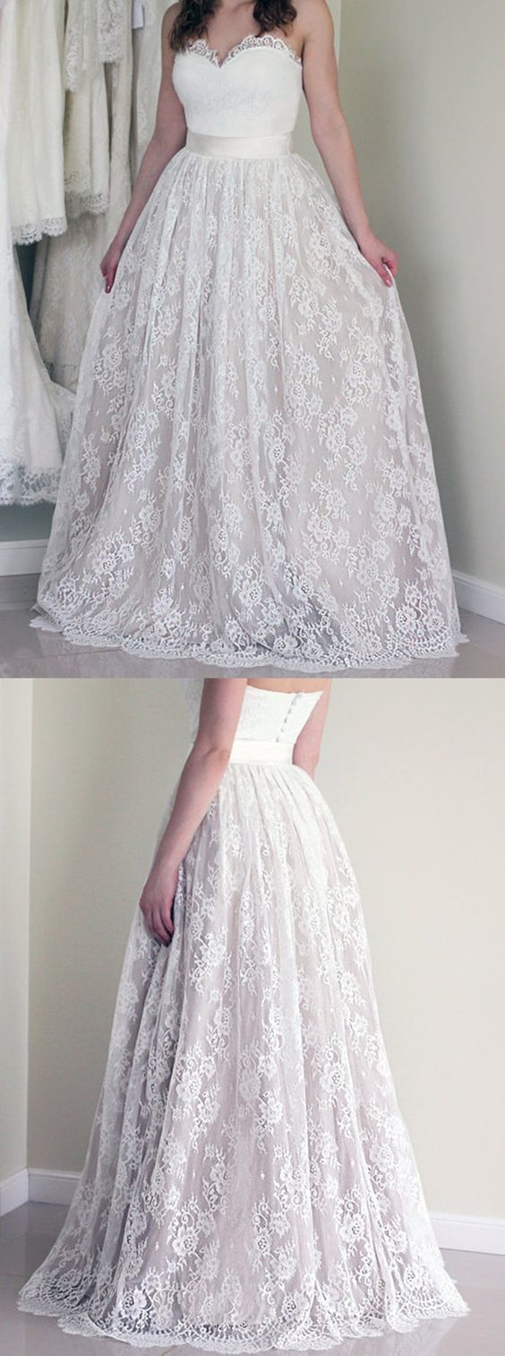 Stylish sweetheart sleeveless long white wedding dress with lace in