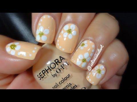 Quick Easy Flower Nail Art Tutorial Selinas Nail Art Youtube