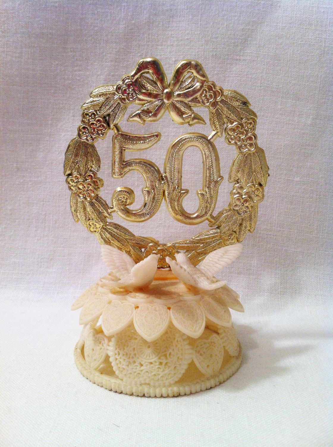 Golden Wedding Anniversary Cake Toppers