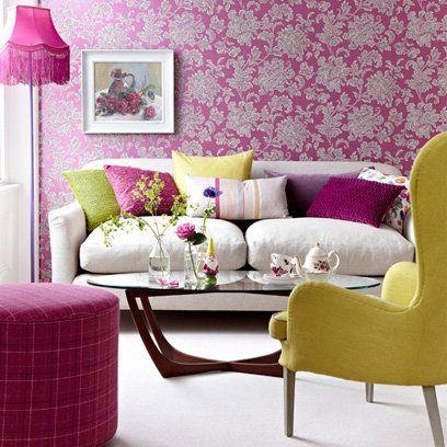 Fuschia Pink Floral Wallpaper | Small Living Room Ideas | Decorating Ideas | Interiors & Small living room ideas | Pinterest | Small living rooms Small ...