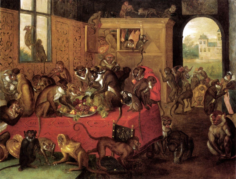 Monkeys Feasting At A Formal Table Ferdinand Van Kessel Antwerpen 1648 Br Da 1696