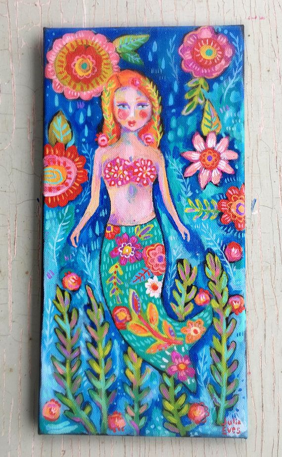 Mermaid Painting on Canvas | Wire hangers, Acrylics and Canvases