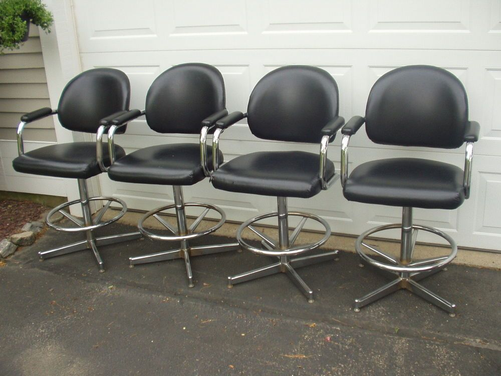 4 Mid Century Chromcraft Swivel Captain Chairs/Bar Stools #MidCenturyModern  #CHROMECRAFT