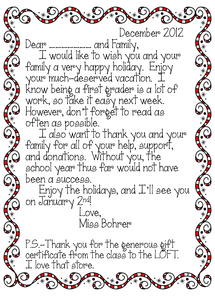 Erica bohrers first grade twas the week before christmas thank twas the week before christmas erica ventures country day school independent prek thank you letter spiritdancerdesigns Gallery