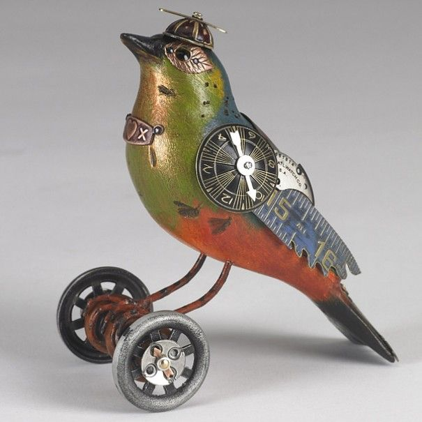Steampunk bird sculpture by Mullanium