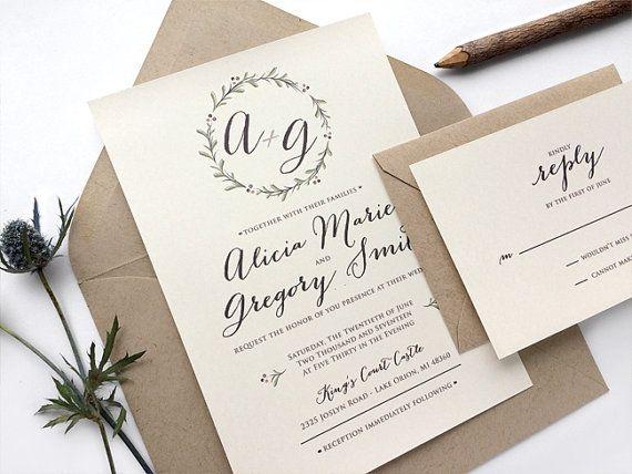Spring Wedding Invitations  Rustic Boho Wedding Invites Fall Wedding Invitations by SideStreetDesigns