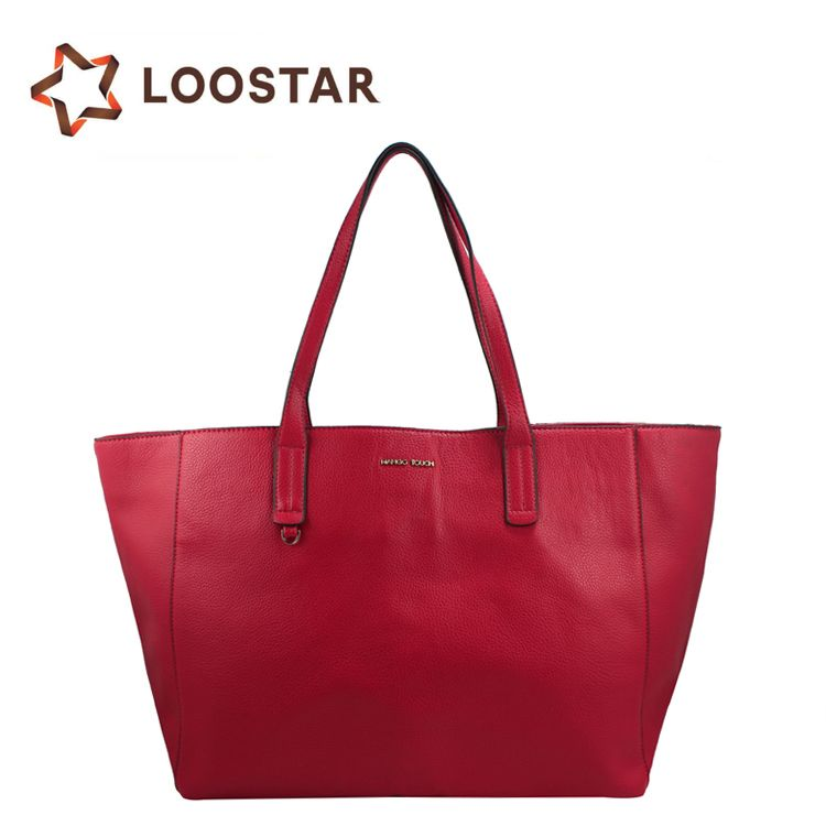 9a434016e3 Alibaba China Supplier Wholesale Women Soft Red Leather Handbags Tote Bags