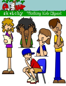 Thinking Kids / People Fun Clipart / Graphics - Set 2 ...
