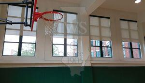 Walsh Construction Gymnasium #windowtreatments #shades #windowshades #solarshades #windows #Chicago  #motorizedshades #gym