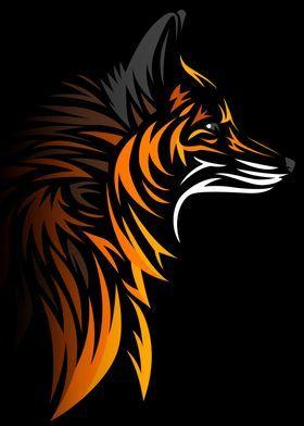 'Tribal fox' Metal Poster Print - Alberto Perez | Displate