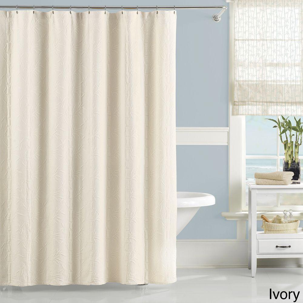 Luxury Matelasse Nepal Bamboo Shower Curtain Overstock Shopping - Overstock bathroom rugs for bathroom decorating ideas