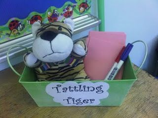 "Going to find a stuffed tiger tomorrow! ""If you have to tattle, tell it to the tiger, not to me."""