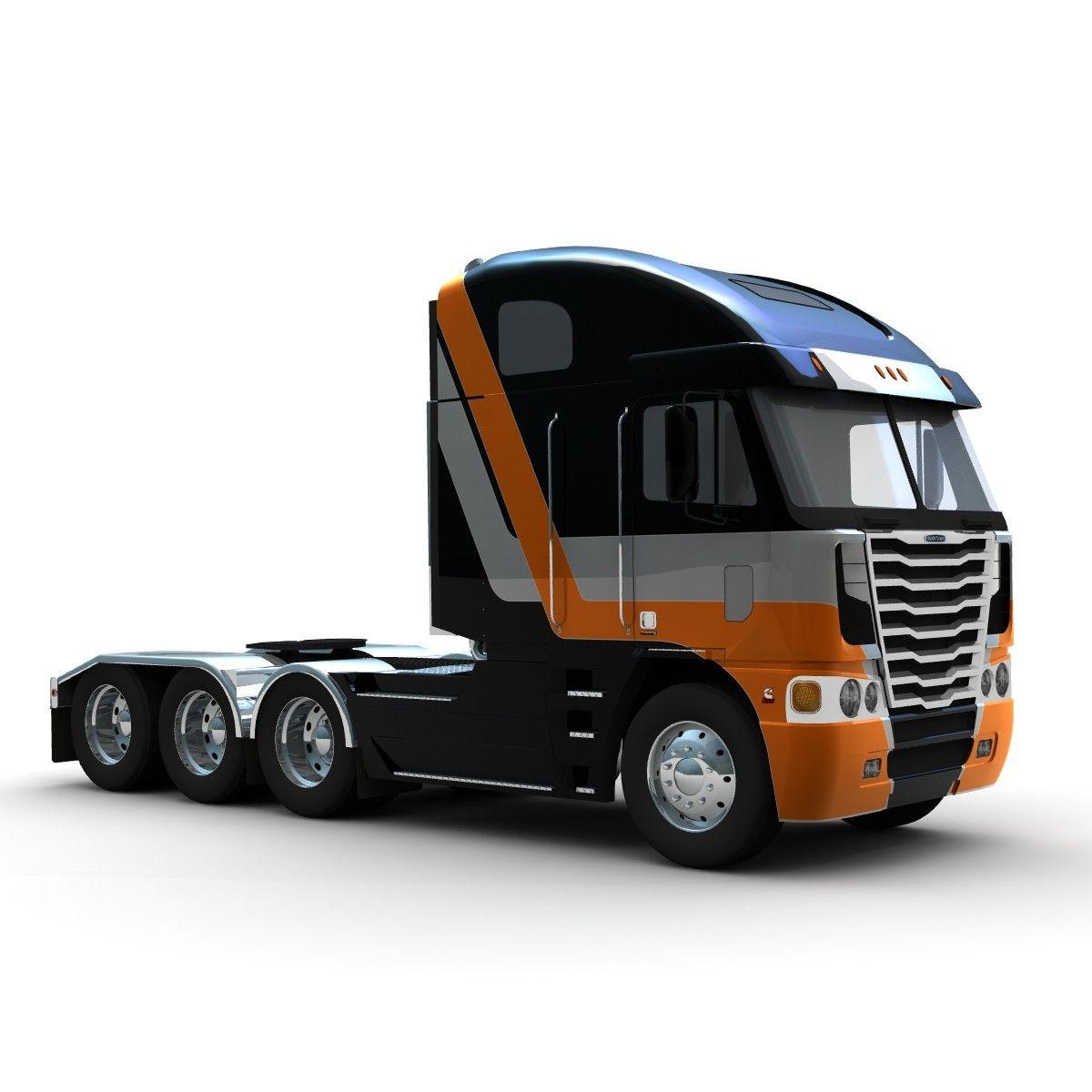 Freightliner Argosy Tridrive Truck 3d Lwo 3d Model Freightliner Big Rig Trucks Freightliner Trucks