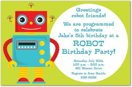 Programmed to Celebrate Birthday Party Invitations – Robot Party Invitations