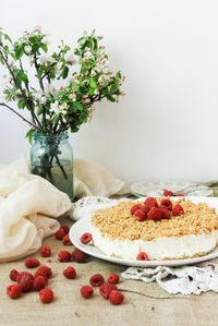 Light Israeli Cheesecake with Crumb Topping | At the Immigrant's Table