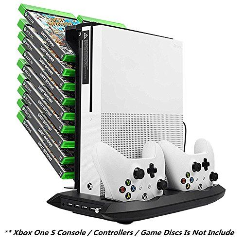Xbox One S Vertical Stand Cooling Fan Controller Charging Station