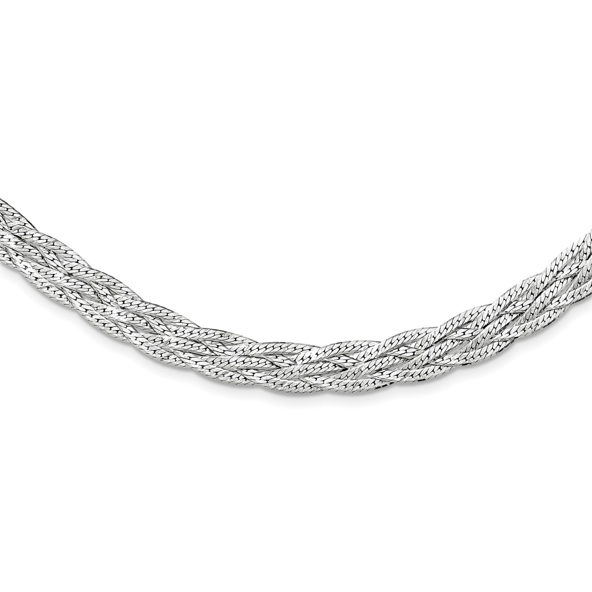 Sterling silver satin braided fancy chain wide necklace qg