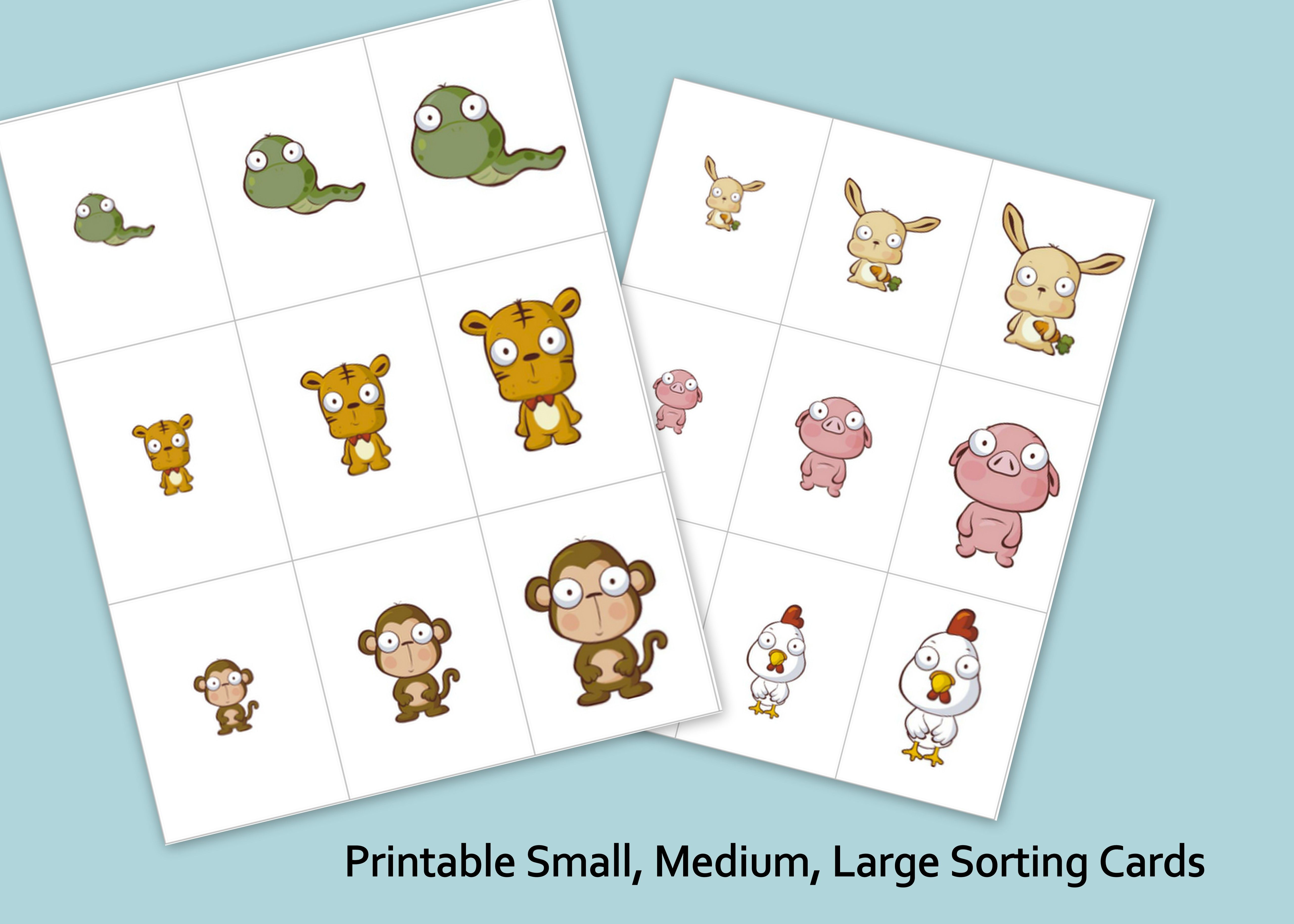 Printable Small Medium Large Animals With Images