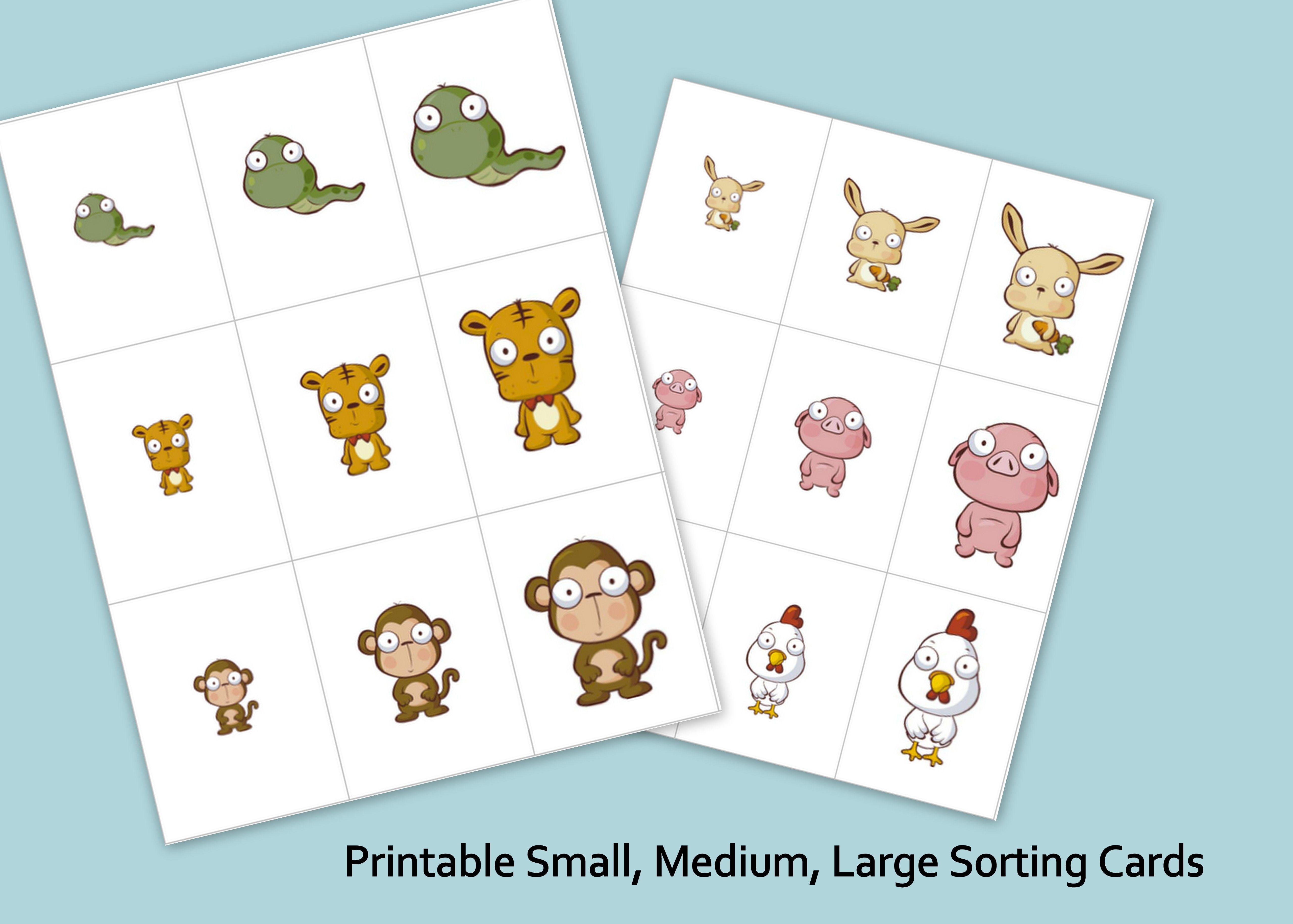 Printable Small Medium Large Animals Sorting Cards Shapes Preschool Preschool Activities [ 3657 x 5120 Pixel ]