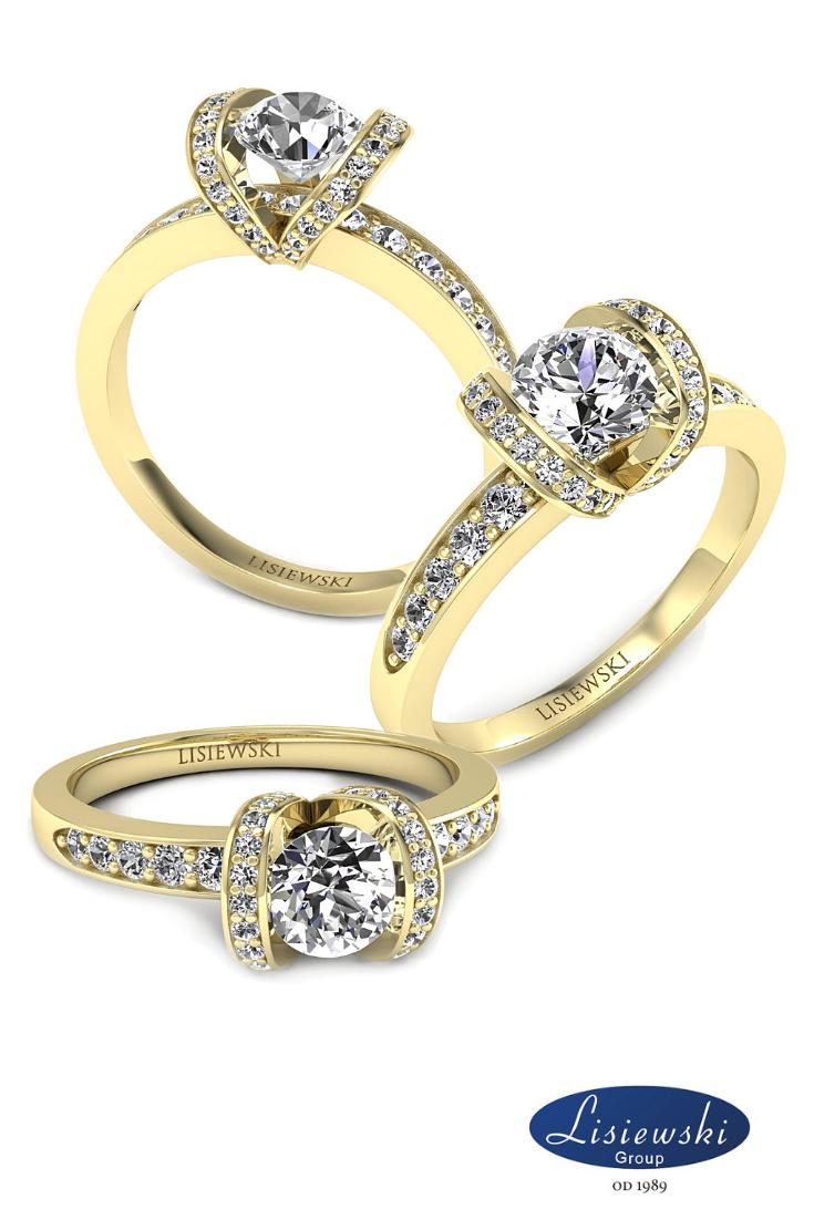 Pierścionek Zaręczynowy Z Diamentami Zaręczyny Złotypierścionek