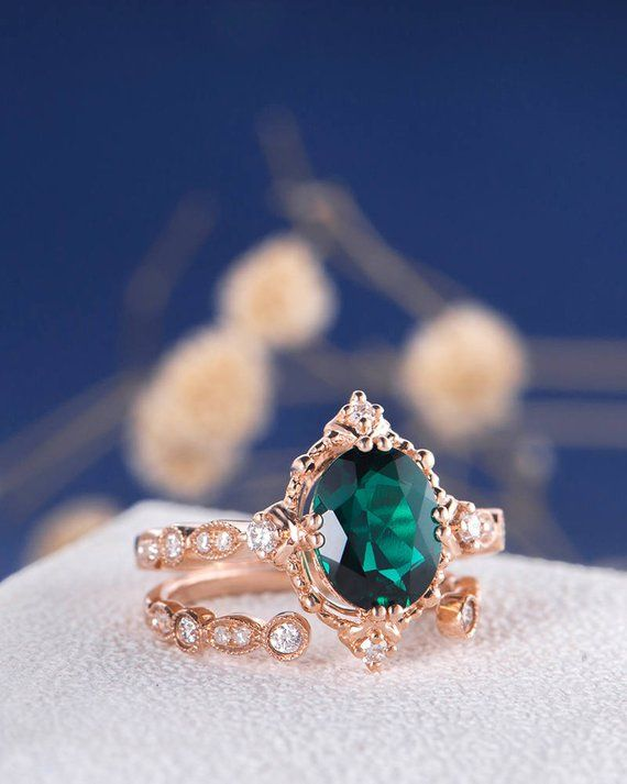Photo of Antique Rose Gold Engagement Ring Set Oval Cut Lab Emerald Ring May Birthstone Women Diamond Beaded Retro Unique Art Deco Eternity Ring 2pcs