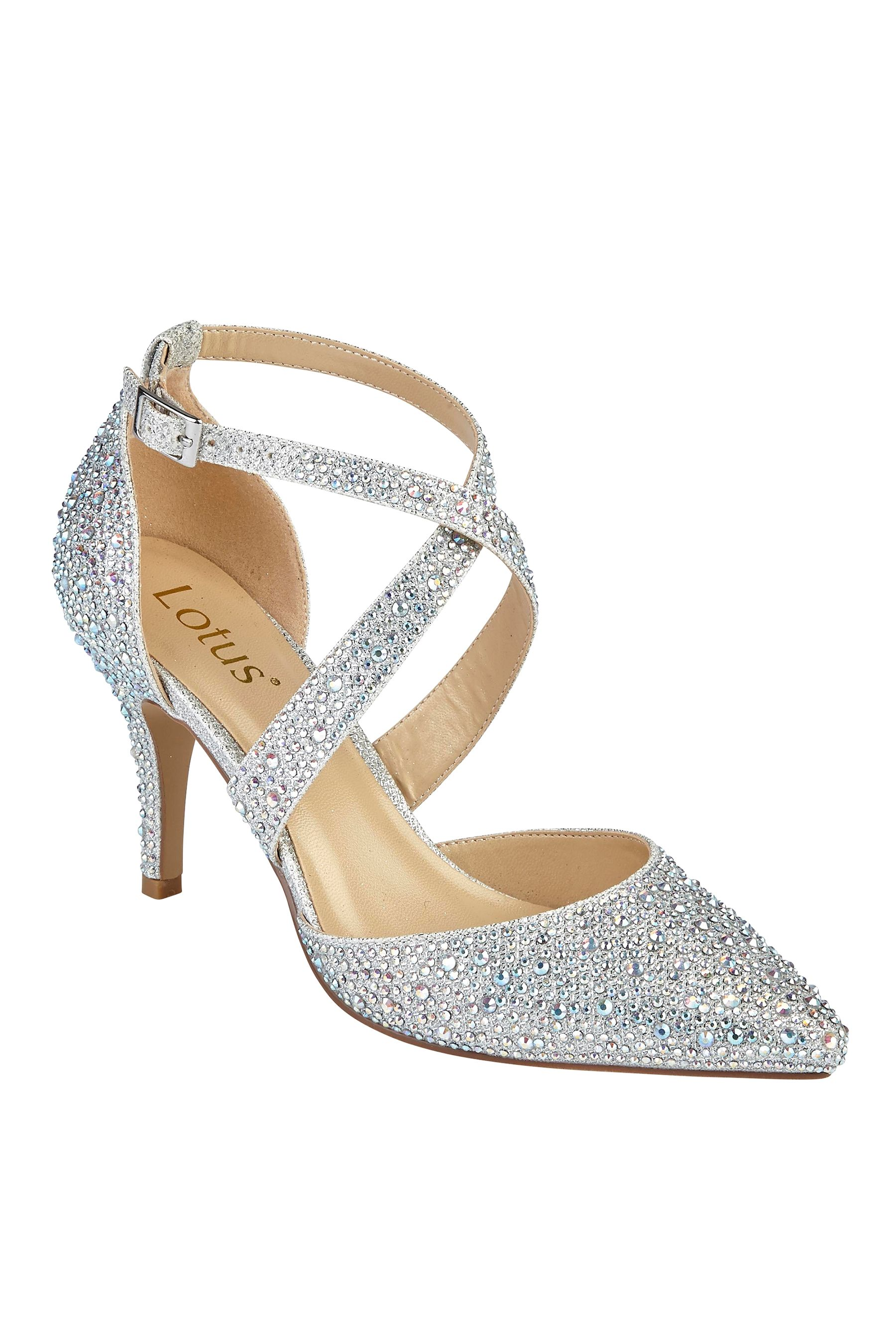 dca9dcb95a5b Womens Lotus Embellished Court Shoes - Silver   Products   Shoes ...