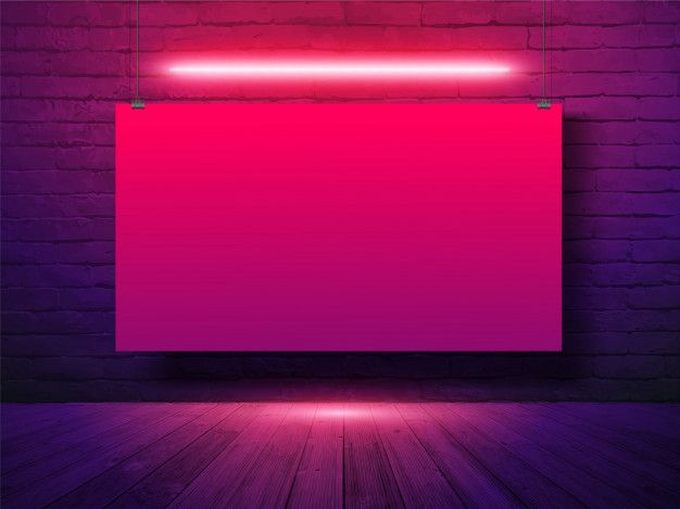 Vector Mockup Poster Banner Hanging With On Brick Wall Background Neon Light In 2020 Neon Wallpaper Wallpaper Background Design Studio Background Images