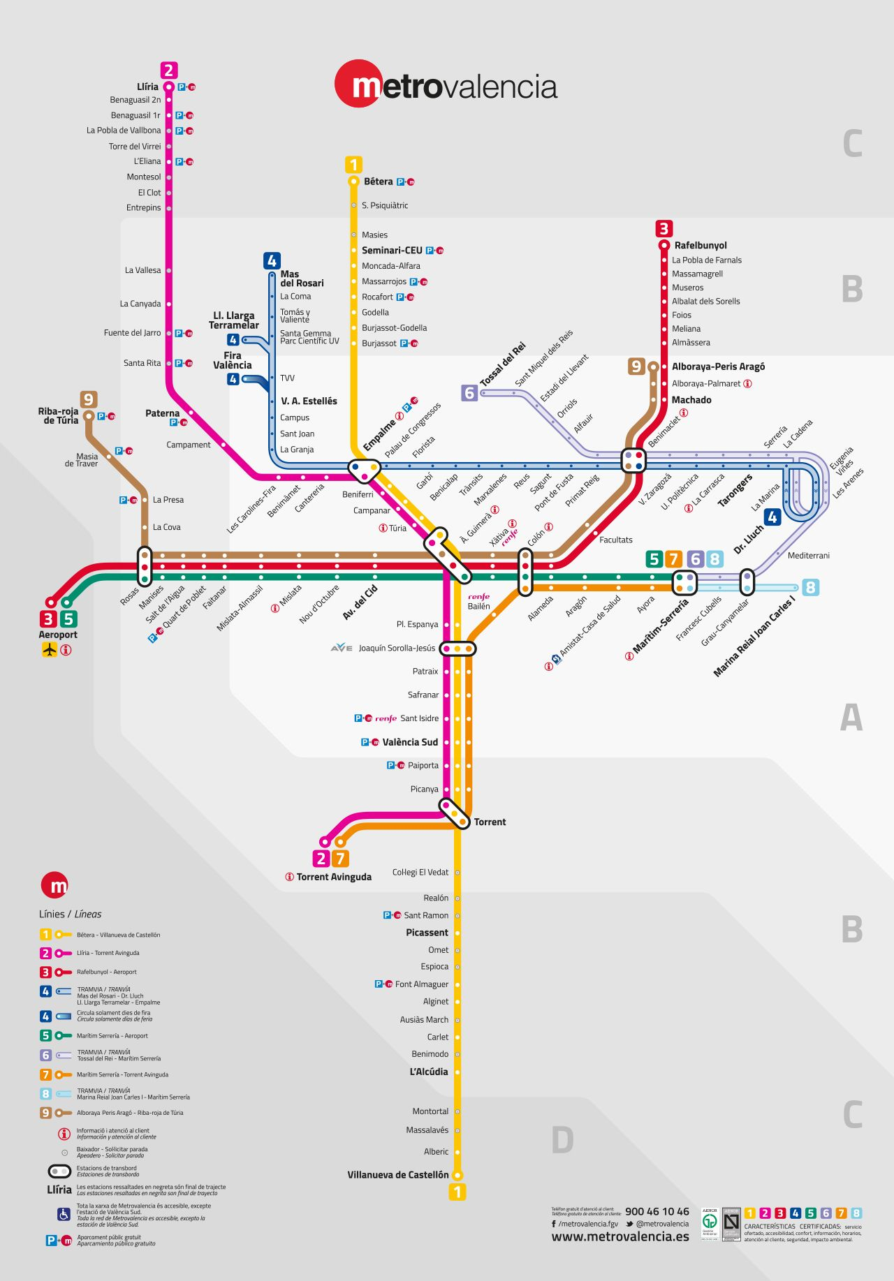 Official Map Metrovalencia Valencia Spain 2015the Opening Of