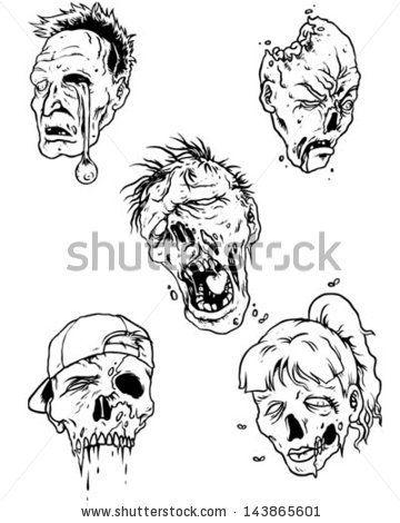 Zombie Head Drawing   Zombie Head - stock vector