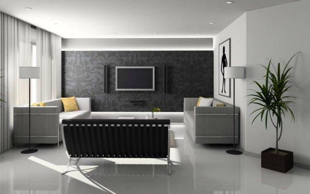 papier peint dco pour un intriuer moderne en une trentaine dimages - Deco Gris Noir Blanc
