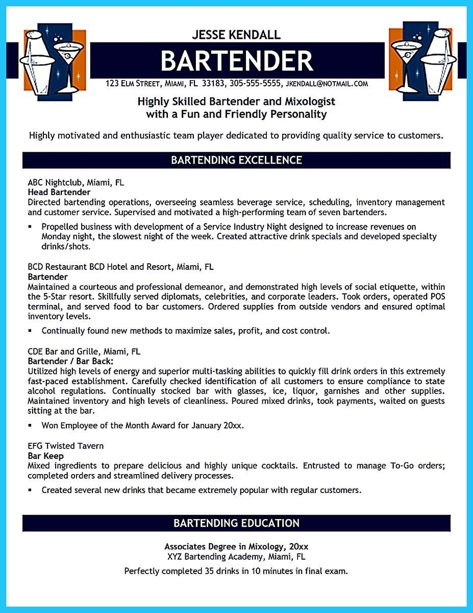 Best Bartender Resume Simple Bartendendingresponsibilitiesresumesampleandbartendingresume .
