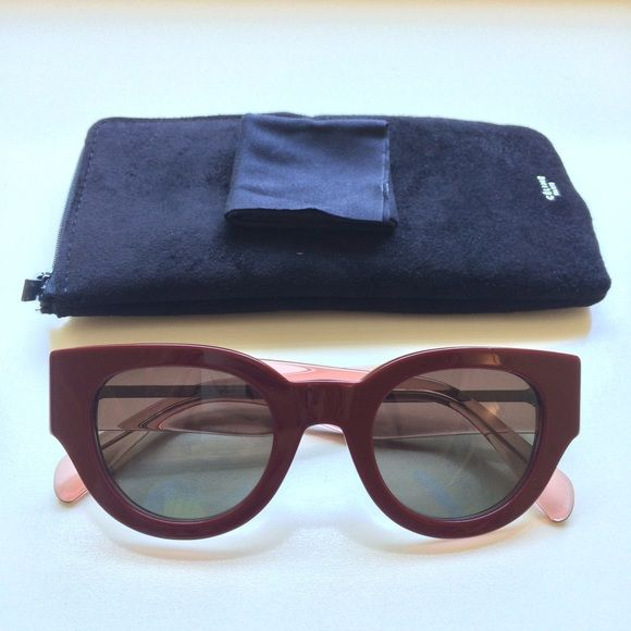 NEW Celine Bicolor Sunglasses in Burgundy Crystal New and never worn! Comes with original case and eyeglass cleaner. 100% authentic. Over $350 Value. Model CL 41064/S. Celine Accessories Sunglasses