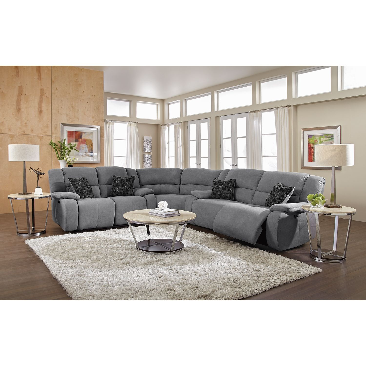 Living Room Furniture Destin Gray II 3 Pc Power Reclining