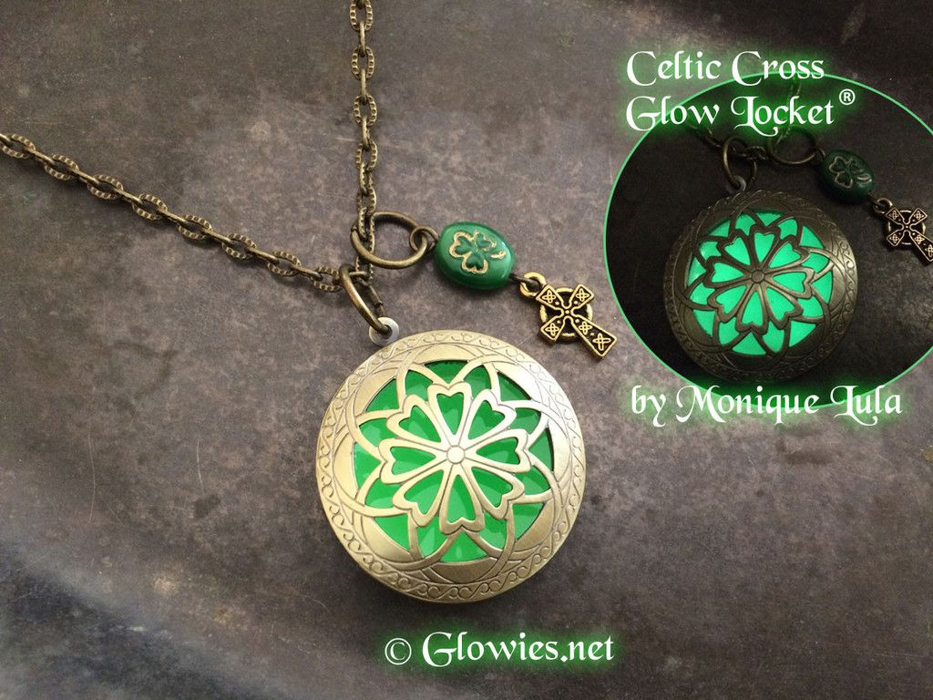 jewelry shamrock green celtic pinterest locket pin glow cross lockets