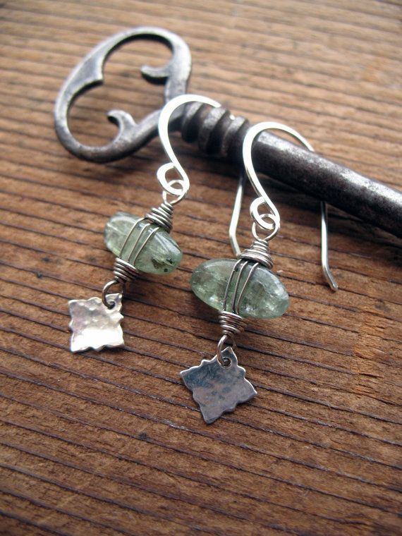 Green Kyanite & sterling silver charm earrings by Brenda McGowan