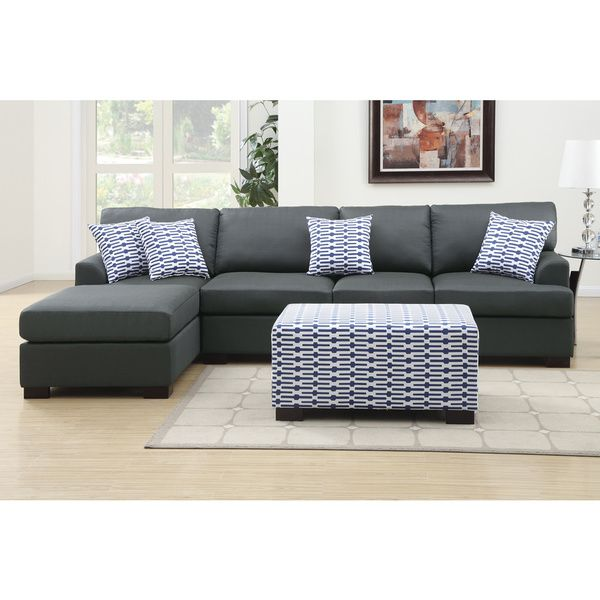 Moss Large 2-piece Blended Linen Sectional Sofa with Matching ...