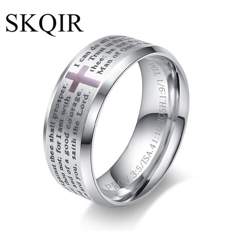 SKQIR New bijoux Serbian Bible Lord's Prayer Cross Ring Etched